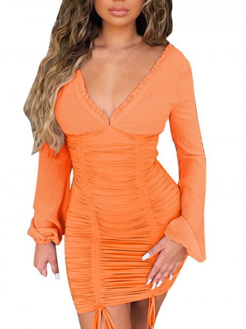 Stunning Orange Solid Color Drawstring Bodycon Dress Superior Comfort