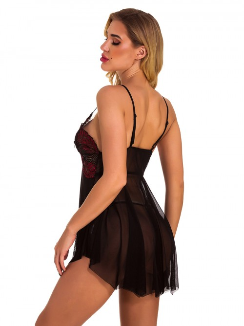 Euphoric Wine Red Mesh Splice Babydoll Sling Backless Nightwear