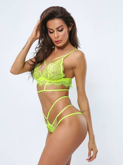 Romantic Green Strappy Lace Patchwork Perspective Bra Set Allover Comfort