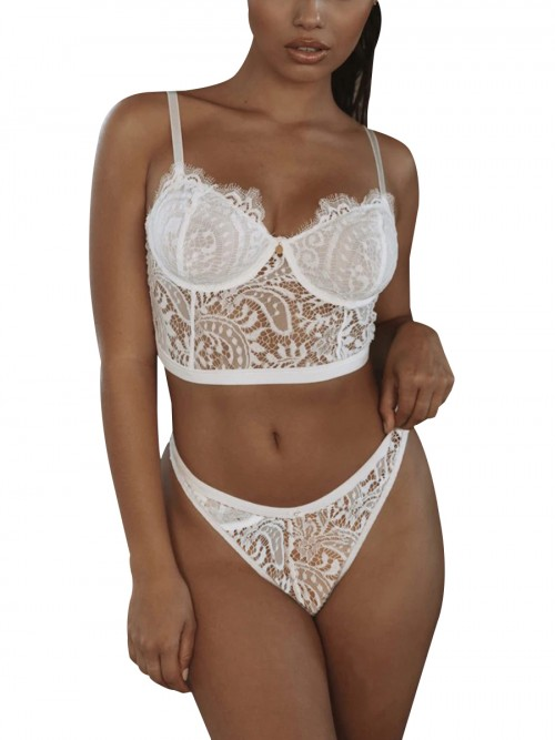 Women's White 3 Back Closures Lace Mesh Bralette Attractive Wear