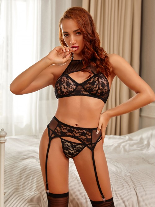 Royal Black Three-Piece Mesh Patchwork Bralette Ideal Choice