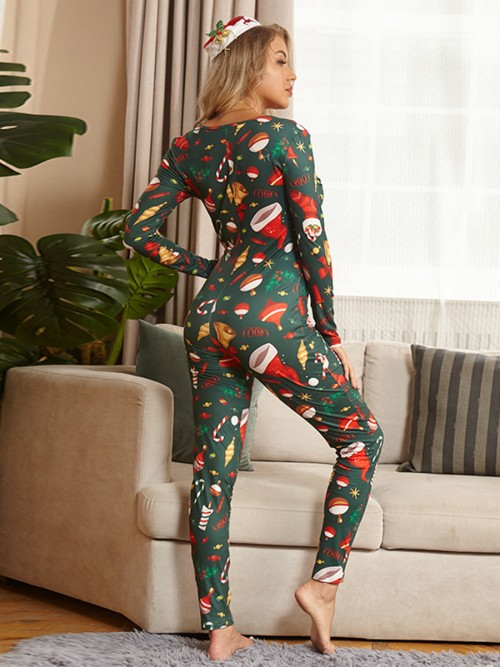 Bare Button Christmas Print Sleepwear Jumpsuit High Quality