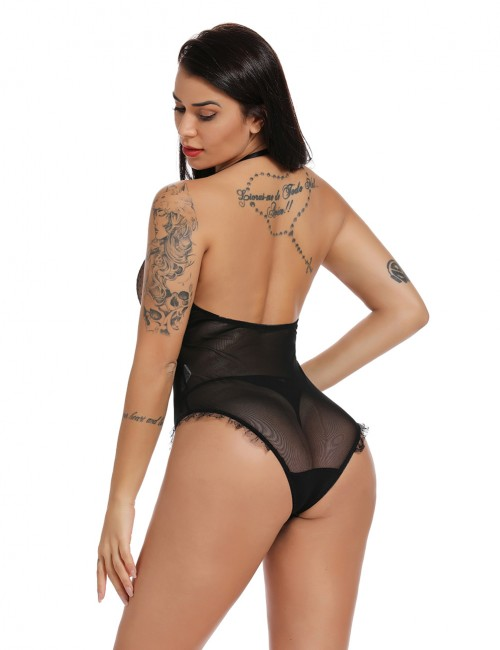 Sexy Ladies Black See-Through Sheer Mesh Halter Teddy