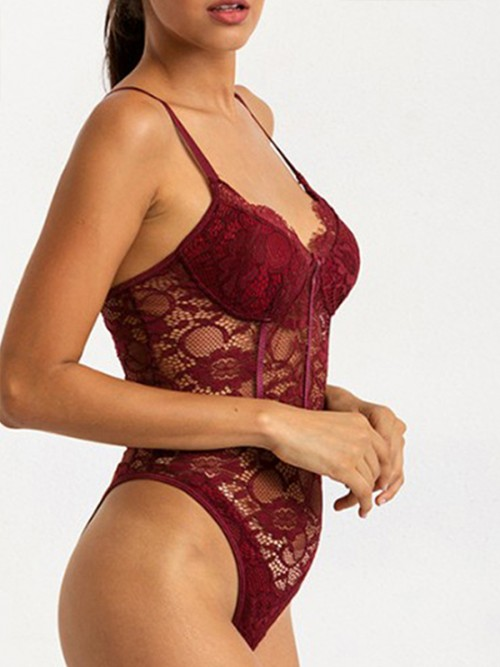 Nicely Wine Red Lace Stitching Adjustable Sling Teddy Comfort
