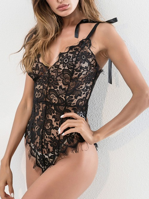 Women's Sexy Eyelash Lace Bodysuit Naughty Lingerie