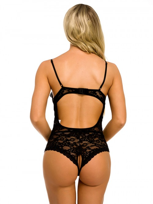 Luxurious Black Plunge Collar Open Back Lace Teddy Lightweight