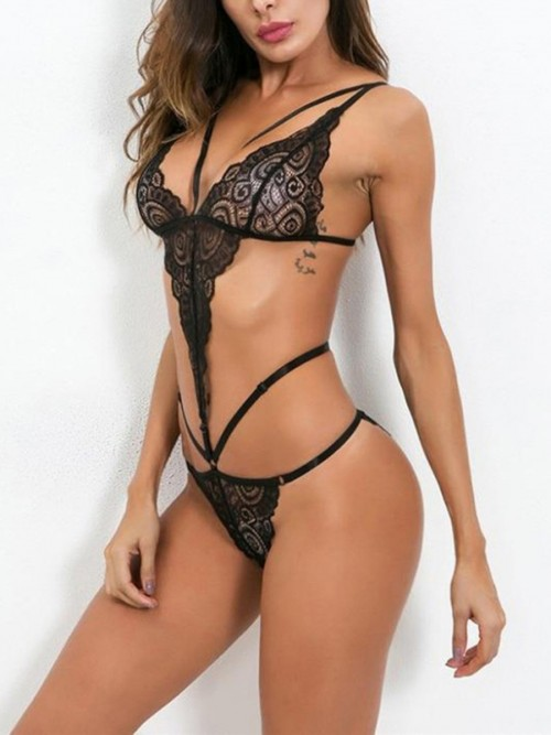 Incredibe Black Lace Teddy Hollow Out Plunge Collar Best Materials