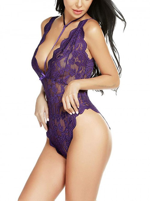 Tempting Purple Sheer Mesh Floral Print Teddy Female