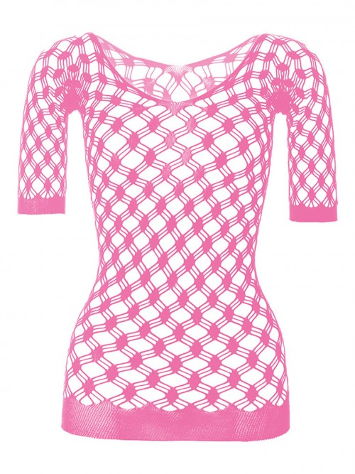 Pure Pink High Streth Half Sleeve Teddy Fashionable Affordable