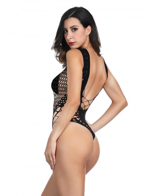 Bare Black High Stretch Teddy Hollow Out Fitted