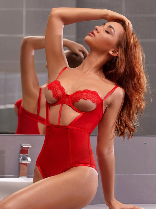 Pretty Red Slender Strap Lace Teddies Hollow Out Lightweight