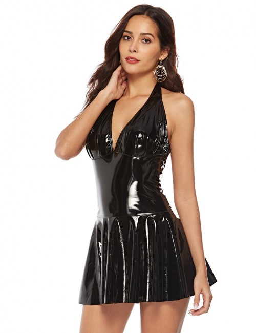 Beautiful Black Leather Dress Halter Neck Large Size Fashion Nightwear