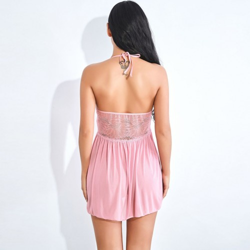 Breezy V Collar Halter Tie Rose Red Lace Babydoll Backless Super Faddish