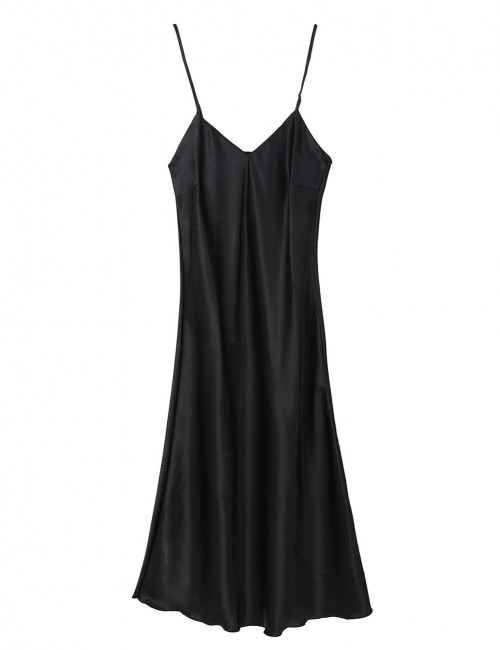 Enticing Black Open Back V Neck Adjustable Strap Sleepwear High Grade
