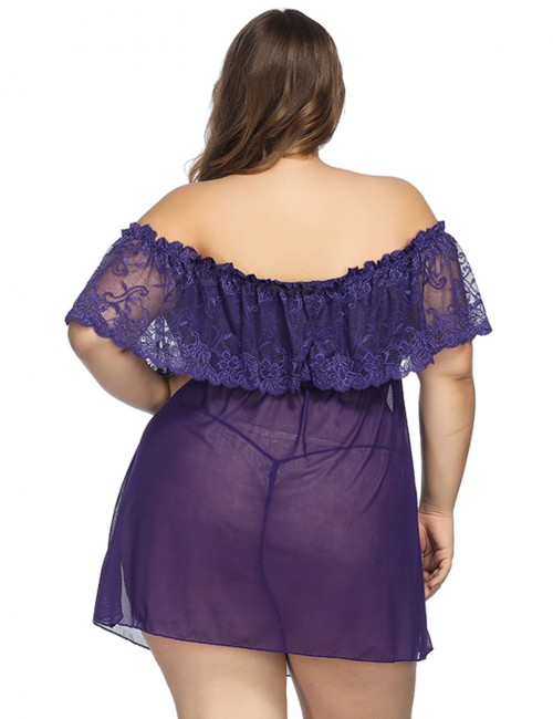 Incredibe Purple Lace Ruffle Queen Size Babydoll Splice Romantic Night