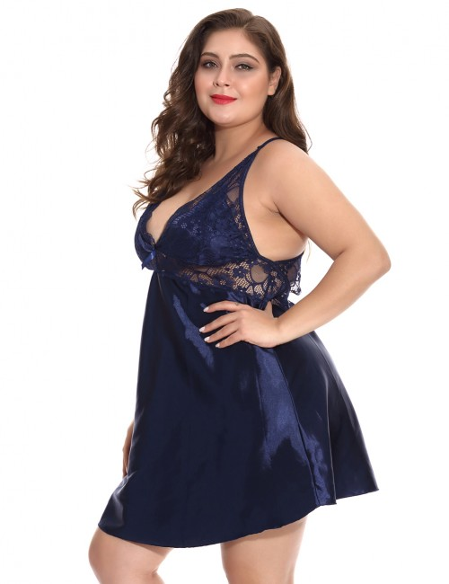 Princess Blue Big Size Lace Patchwork Chemise With Thong Romance Bedtime