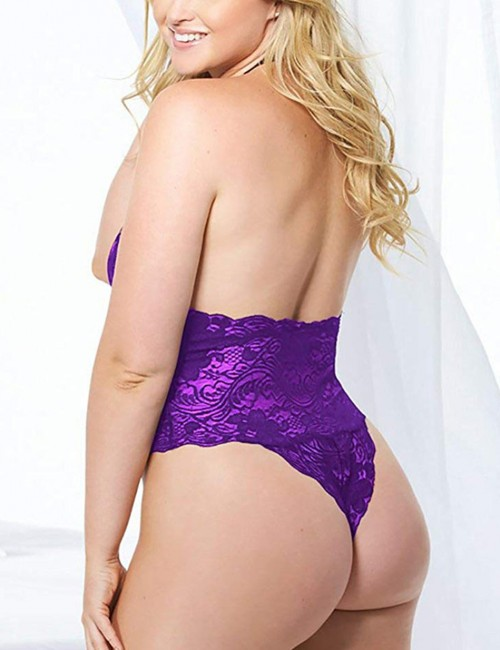 Delightful Open Back Teddy Purple Buttless Large Size Lace