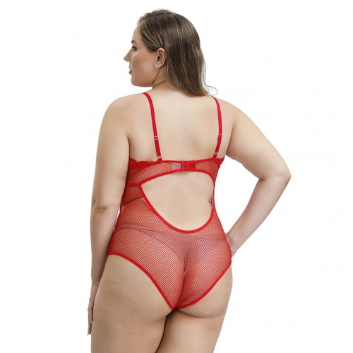 Exceptional Red Cut Out Lace Mesh V Neck Teddy Plus Size Slimming Style