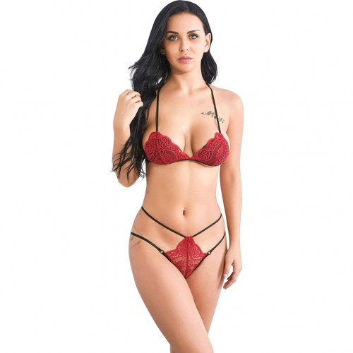 Expensive Lace V Neck Red Strappy Backless Bralette Set Female