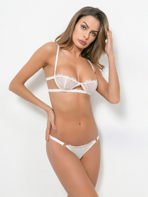 Daring White Hollow Out Slender Strap Bralette Set Slim Fit Style