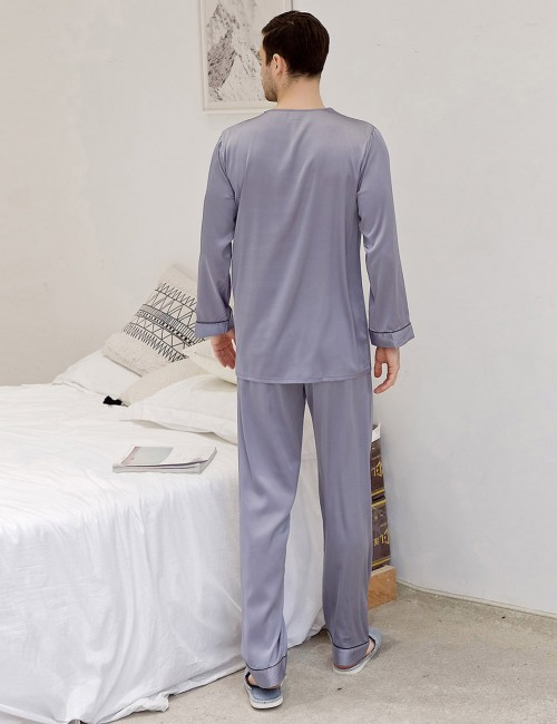 Exclusive Light Purple V Neck Male Print Sleepwear Set Pocket Comfortable