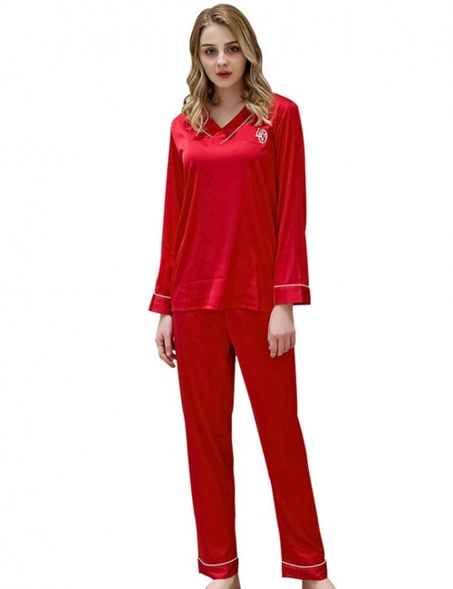 Classy Red Print Faux Silk Wrap Sleepwear Set V Collar Close Fitted