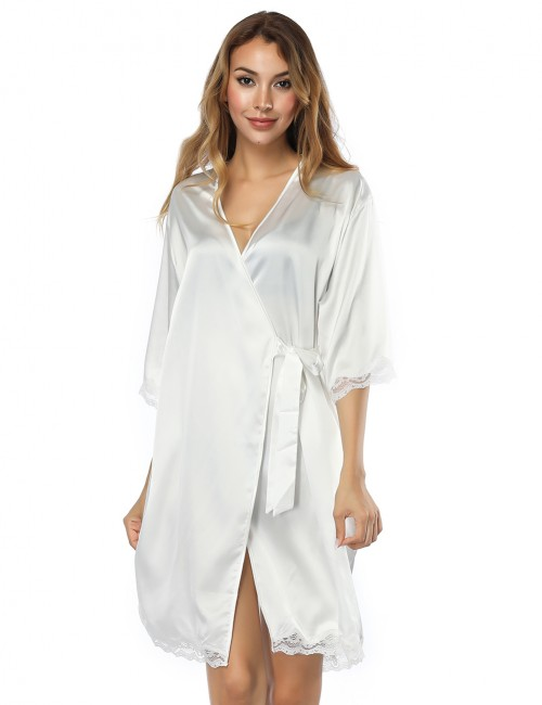 Chic Knot White Cardigan Satin Faux Silk Bedgown Wholesale