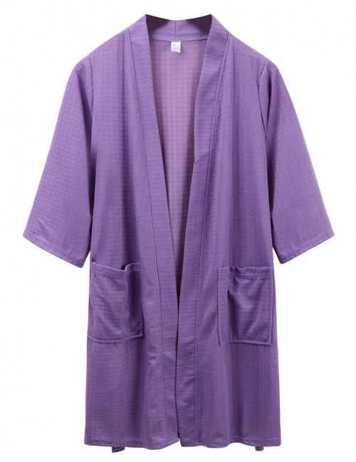 Delicate Purple Plain Wrap Cotton Mens Bathing Robe Large Size Slim Style