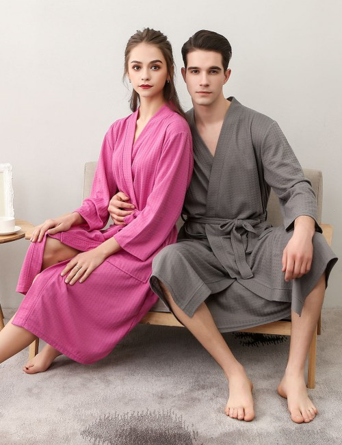 Enchanting Rose Red Wrap Solid Color Knee Length Night-Robe Large Size Outfits