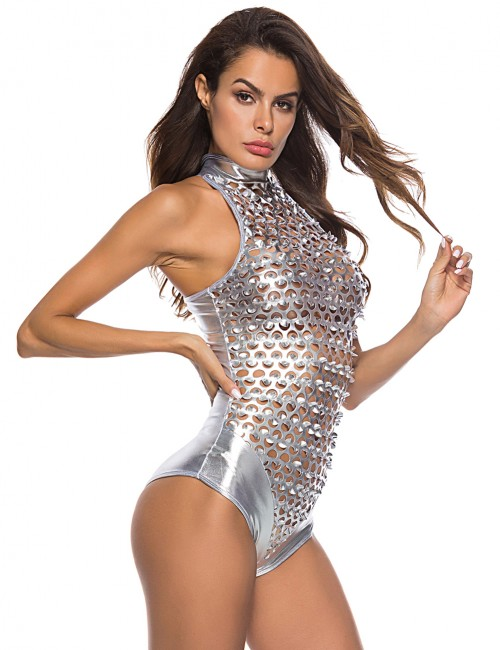 Irrepressible Silver Punching PU Bodysuit Lingerie Sleeveless High Quality Fabric