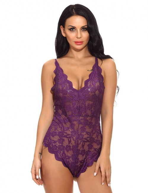 Flashy Purple Floral Lace Teddies Spaghetti Strap Super Comfort Fabric