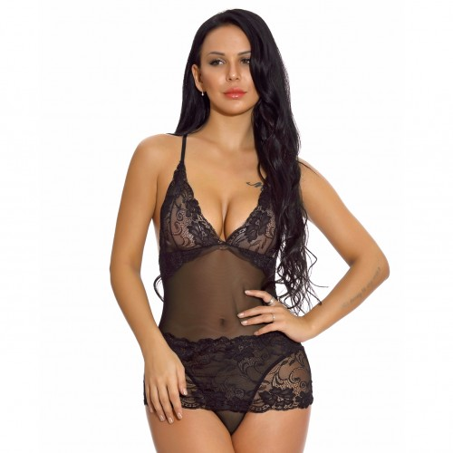 Amazing Black Plunging Neck Teddy Lingerie Floral Lace High Grade Woman