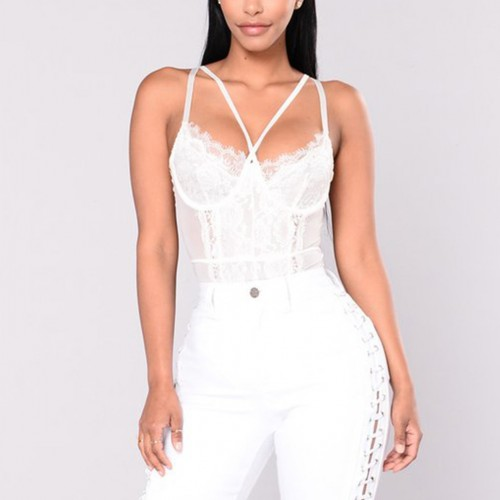 Bare White Perspective Lace Stitch Sling Teddy Super Comfort Fabric