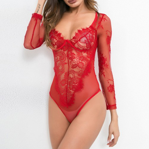 Sheer High Cut Red Perspective Lace Mesh Teddies For Romans