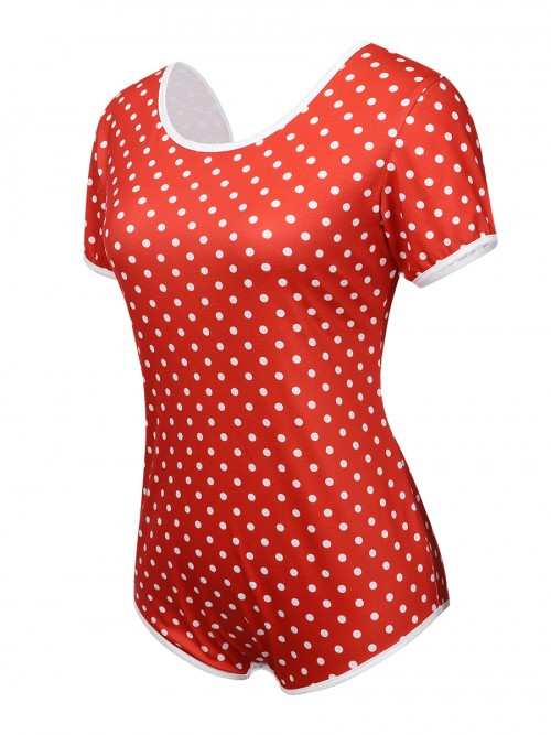 Retro Girls Red Polka Dots Open Back Bow-Knot Teddy Fashion Online