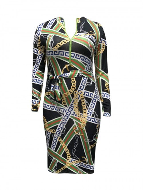 Exclusive Chain Print Large Size Bodycon Dress Womens Clothing