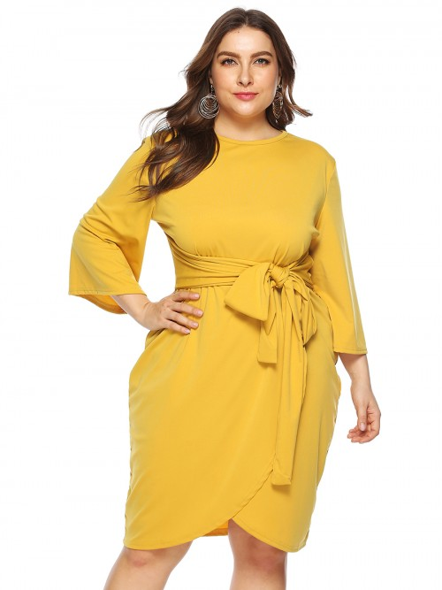 Island Paradise Yellow Queen Size Bell Sleeves Midi Dress