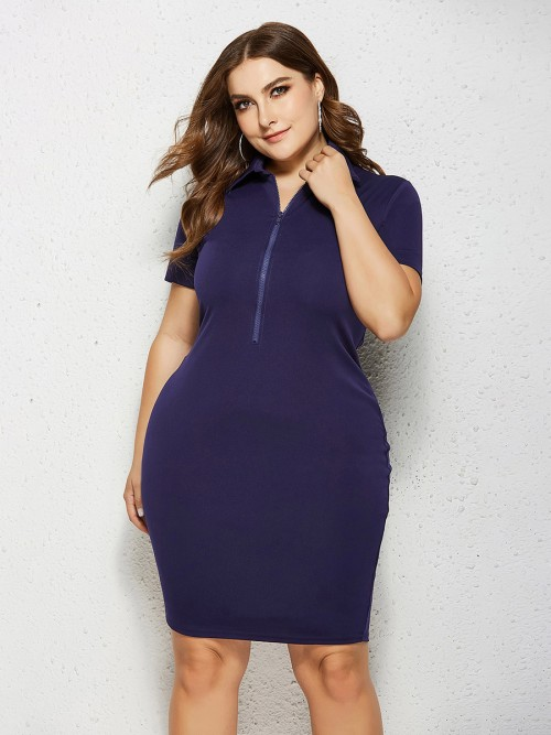 Fabulously Dark Blue Short Sleeve Midi Dress Queen Size At Great Prices
