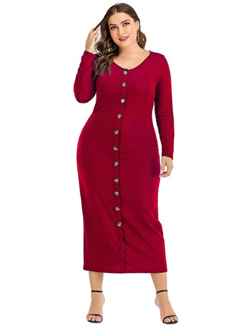 Heartthrob Button Long Sleeves Queen Size Dress Comfort Devotion