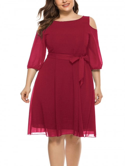 Nautically Red 3/4 Sleeve Large Size Dress Tie Waist Adult