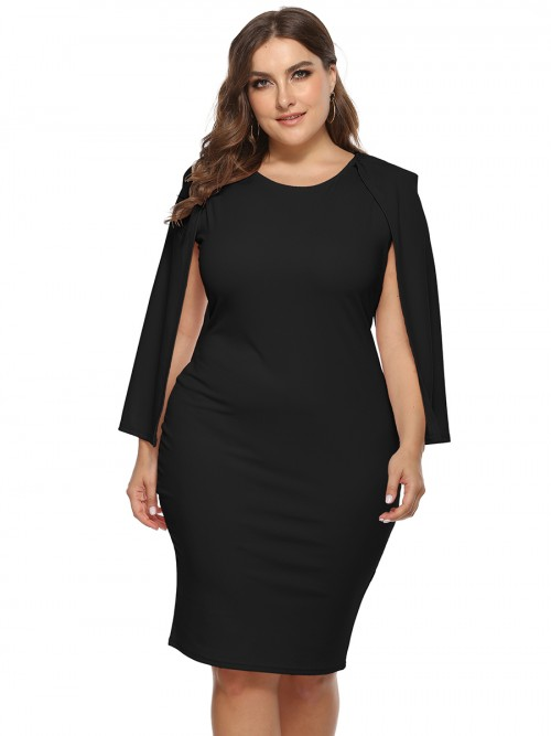 Glorious Black Cape Sleeve Round Neck Plus Size Dress Breathable