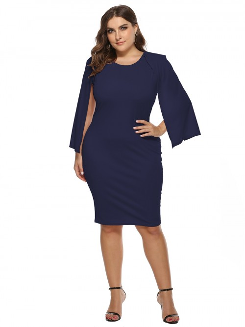 Slimming Purplish Blue Bodycon Dress Queen Size Round Neck Outfit
