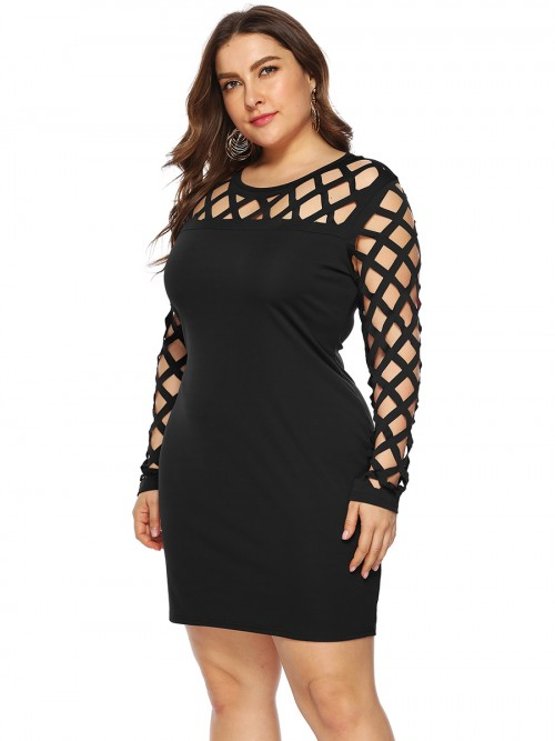Innovative Black Hollow Out Queen Size Bodycon Dress Casual Clothes