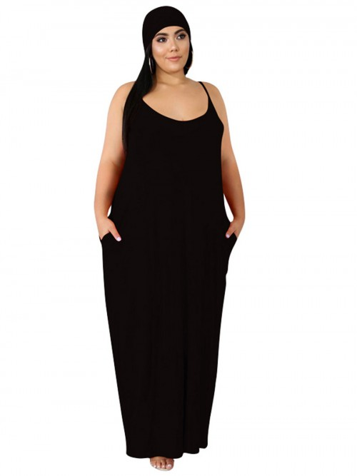 Comfy Black Solid Color Plus Size Maxi Dress Weekend Time