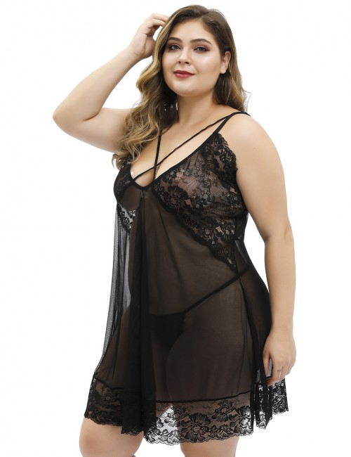 Black Plus Size Sheer Lace Embroidery Cross Straps Babydoll
