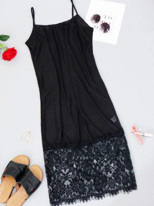 Exquisite Black U-Neck High Stretch Big Size Dress Fashion For Female