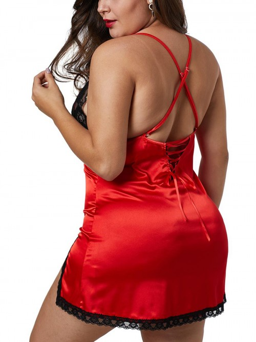 Adorned Red Sling Cross Back Lace Babydoll Slit Romantic Time