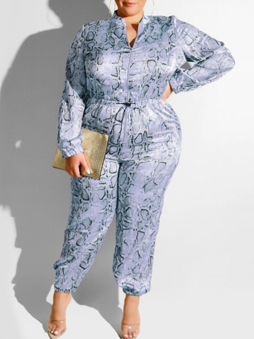 Popularity Blue Jumpsuit Long Sleeve High Waist High Quality