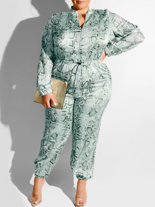 Ingenious Green Full Length Plus Size Romper Women's Apparel