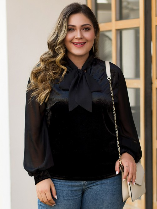 Loose Fit Black Plus Size Shirt Sheer Mesh Bow-Knot Regular Fit